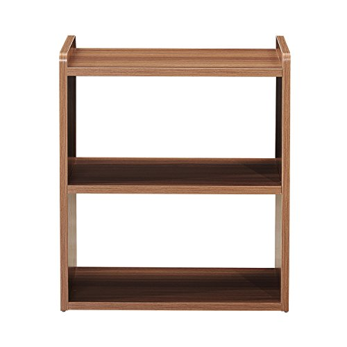 GreenForest Bedside Table 3-Tier Wood Organizer Storage Shelf for Bedroom Nightstand End Side Coffee Table, Walnut by GreenForest (Image #1)
