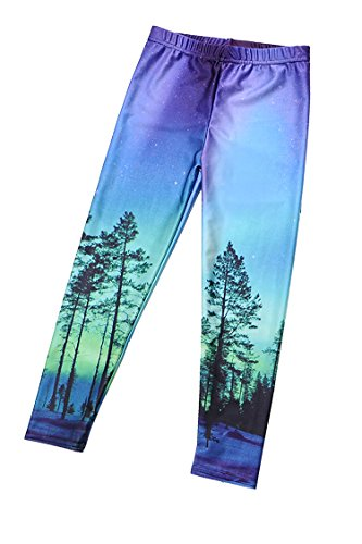 Timemory Girls 3D Print Stretch Leggings Child Tights (Tree and Sky L) (Leggings Kids)