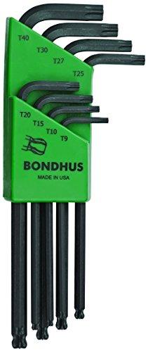 Bondhus Torx - Bondhus 11332 Set of 8 BallStar L-wrenches, sizes T9-T40