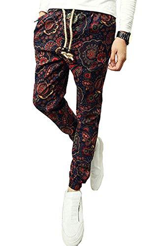 Da Floreale Estivi Larghi Vintage Moda Con Casual Colour Pantaloni Stampa Harem Coulisse Uomo Moderna BqwSWxR5