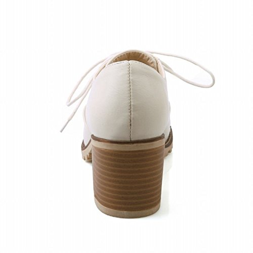 Spectacle Briller Mode Féminine Doux Chunky Talon Oxfords Chaussures Beige
