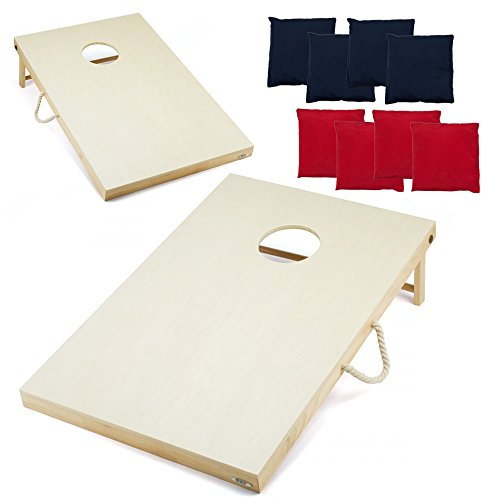 GSE Games & Sports Expert Solid Wood Cornhole Bean Bag Toss Game Set with 8 Bean Bags (4' x 2')