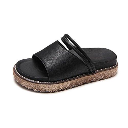 Eu36 En Étanche uk4 couleur Chaussures Air Fond cn36 Mode Épais Sandales Fraîches De Xy® Black Flop Renforcer Black Étudiant Été Taille Rétro Pantoufles Plat Flip Femme Plein Plage Chic F4Bqw8X
