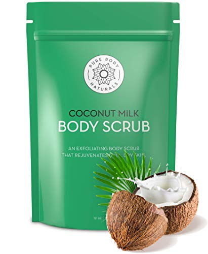 Exfoliating Body Scrub with Hydrating Coconut Milk and Detoxifying Dead Sea Salt, Moisturizing Exfoliating Scrub by Pure Body Naturals, 12 Ounce (Packaging ()