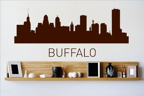 Vinyl Wall Decal Sticker : Buffalo New York NY Skyline City View Beautiful Scene Landmarks, Buildings & Water Bedroom Bathroom Living Room Picture Art Peel & Stick Mural - Discounted Sale Price Size: : 8 Inches X 30 Inches - 22 Colors Available