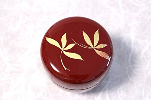 Echizen Urushi Lacquer Japanese Natsume Tea Ceremony Matcha Container Tea Caddy Gold Orchid Red