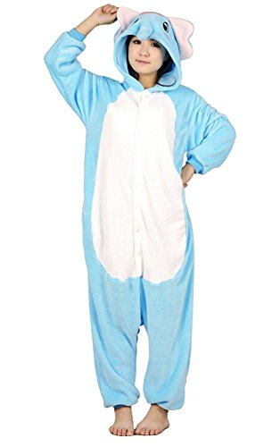 ABING Halloween Pajamas Homewear OnePiece Onesie Cosplay Costumes Kigurumi Animal Outfit Loungewear,Blue Elephant Adult S -for Height (Elephant Onesies For Adults)