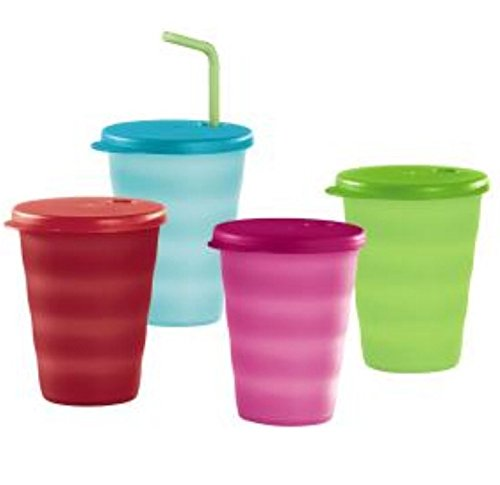 Tupperware 11oz Impressions Tumblers & Straw Seals Set of 4 Summer Colors New
