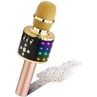 BONAOK Draadloze Bluetooth Karaoke Microfoon met Stuurbare LED Lampen, Draagbare Karaoke-Machine Luidspreker…