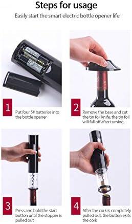 MOC Sacacorchos eléctrico Screwpull de acero inoxidable con cortador de láminas, batería de litio