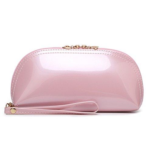 Señora Charol Cuero De La PU Bolso De Mano Bolso De Mano Bolso Cosmético Bolso De Tarde Color Del Caramelo Color 15 Opcional Pink