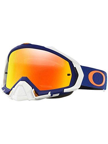 Oakley Mayhem Pro MX Shockwave Men's Dirt Motocross Motorcycle Goggles Eyewear - Blue Orange/Fire Iridium / One Size Fits - Moto Oakley