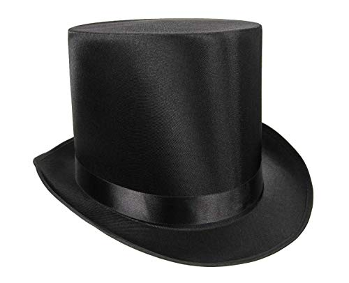 Rocky's Rocket Halloween Mens Tall Satin Top Hat Victorian Steampunk Dickens Slash Formal Costume Black Adult for $<!--$34.99-->