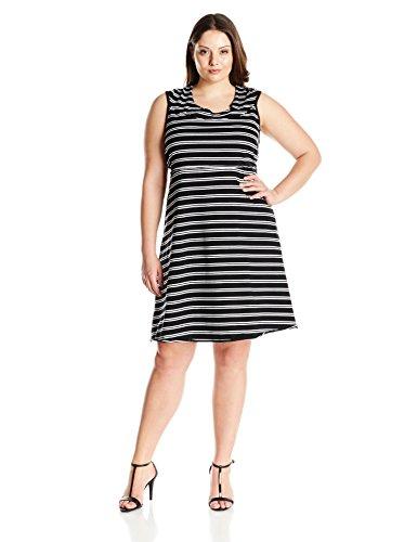 Marc New York Performance Women's Plus Size Thin Stripe Dress with Shelf Bra, Black/White, 1X
