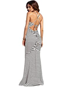 SheIn Women's Strappy Backless Sexy Summer Evening Party Maxi Dress