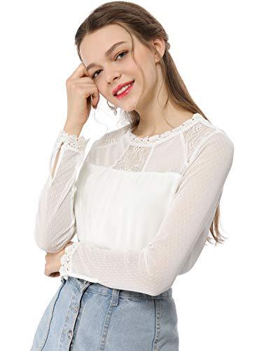 Allegra K Women's Lace Floral Panel Long Sleeves Peasant Blouse Crew Neck Chiffon Top Shirt M White