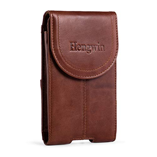 (Belt Clip Holster Pouch Hengwin Genuine Leather Phone Case Holster with Magnetic Closure Purse Belt Loop Pouch Bag Compatible for iPhone XR 7 8 Plus Samsung S8 Plus +Keyring(Brown))