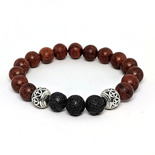 r Bracelet: Premium Lava Stone & Wood Bead Essential Oil Bracelet with Silver Peace Beads (Small, Rosewood) (Rosewood Aromatherapy)