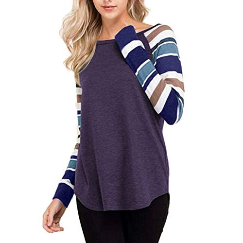 DEATU Womens Shirts Clearance! Ladies Teen Women Casual Autumn Classic Striped Long Sleeve O Neck Tops Blouses T Shirts(Purple,S) from DEATU
