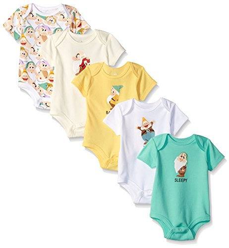 Disney Baby Boys' Snow White's 5-Pack Dwarfs Bodysuit