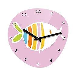 Refelx Non-Ticking Silent Acrylic Wall Clock, Large, Fish Pebble Shape, Pink