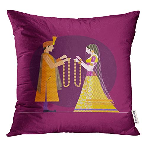 (Semtomn Decorative Throw Pillow Case Cushion Cover Indian Wedding Bride and Groom Hindu India Beautiful Woman 18x18 Inch Cases Square Pillowcases Covers)