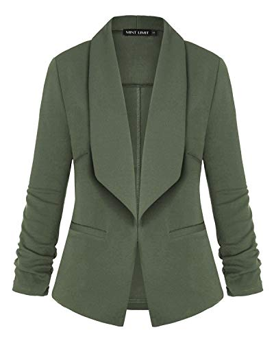 (Unifizz Women's Lightweight Blazer Ruched Sleeve Open-Front Cardigan Work Office Jacket Army Green L)