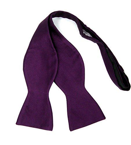 Mens Solid Color Microfiber Self Bow Tie (Dark (Pattern Silk Bow Ties)