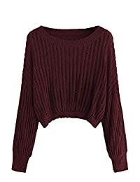 ROMWE Women's Casual Drop Shoulder Long Sleeve Crop Pullover Sweater