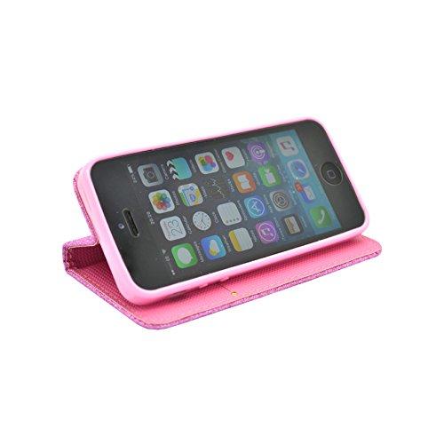 APPLE IPHONE 6/6S PLUS PINK HÜLLE MIT GLITZER-DESIGN KUNSTLEDER BUCH FLIP TASCHE CASE HÜLLE VON GADGET BOXX