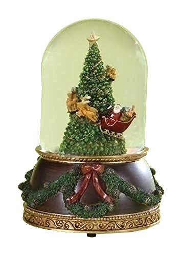 Santa in Sleigh with Reindeer Flying Around Christmas Tree Musical Snow Globe Glitterdome - 8'' Tall 120MM - Plays Tune Santa Claus is Coming to Town by Roman