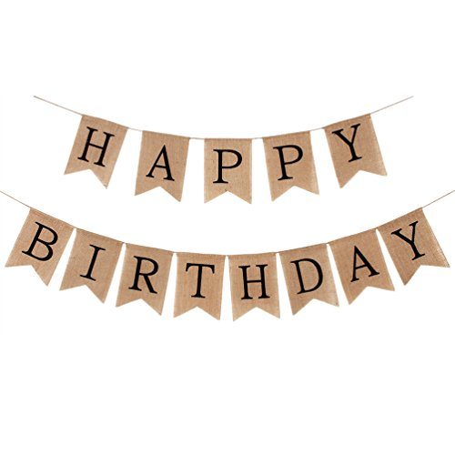 INNORU Burlap Happy Birthday Banner Rustic Birthday Party Bunting Banners]()