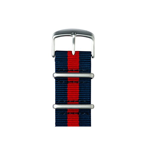 Roobaya | Premium Apple Watch Nato Nylon-Armband in Dunkelblau / Rot | inklusive farblich auf die Apple Watch abgestimmter Adapter, Gehäusefarbe:silver aluminum, Größe:42mm