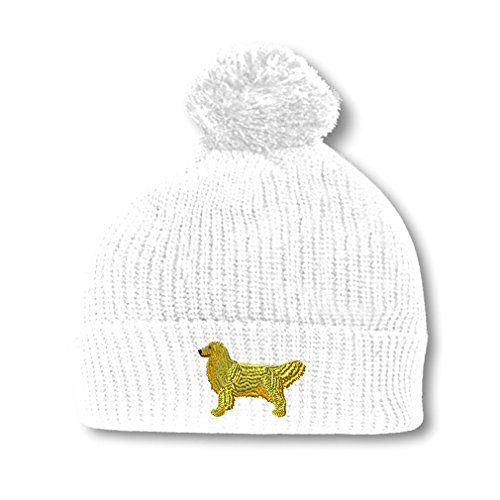 Golden Retriever Embroidery Embroidered Pom Pom Beanie Skully Hat Cap White