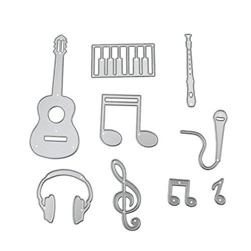 (MKChung 9pcs Scrapbooking DIY Guitar Notes Piano Metal Steel Cutting Die Stencil)