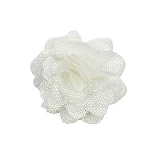 OveeLando White Burlap Flowers Fabric Decoration Weddings Hair DIY 10 pcs 59