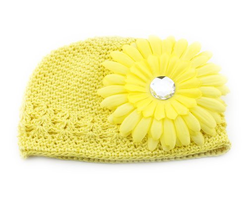 Bonamart Yellow Hair Big Daisy Flower Crochet Cap Hat for Baby Todder