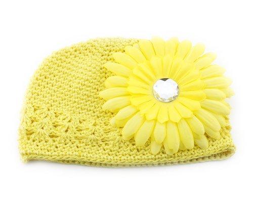 Bonamart Yellow Hair Big Daisy Flower Crochet Cap Hat for Baby Todder