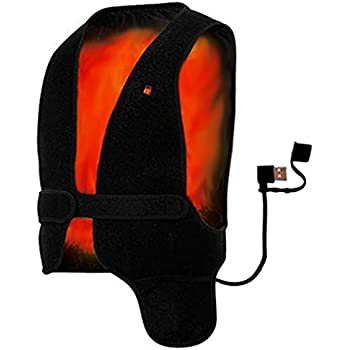 Yooshare Heated Vest Far Infrared Temperature Adjustable Heating Vest Warmer Underwear Free Size Healthy Waistcoat Heated Jacket for Men and Women Back Pain Relief Chargeable Vest by Power Bank
