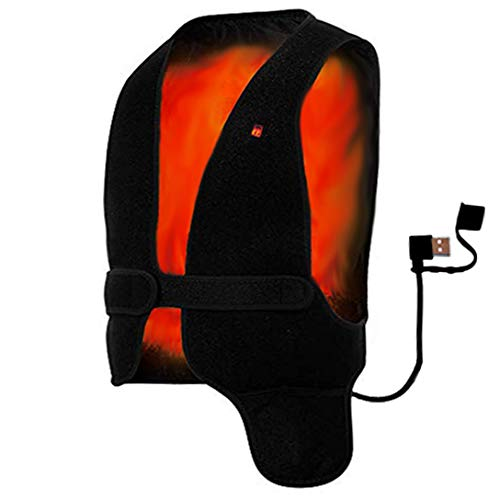 Far Infrared Temperature Adjustable Heating Vest Warmer Underwear Free Size Healthy Waistcoat Heated Jacket for Men and Women Back Pain Relief Chargeable Vest by Power Bank ()