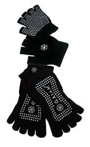 Gaiam Grippy Yoga Sock and Glove Set, Black