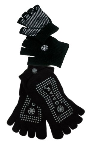 Gaiam Grippy Yoga Sock and Glove Set, Black