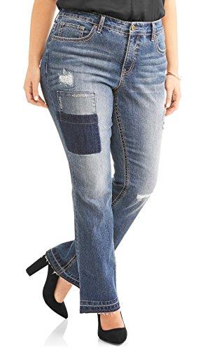 Faded Glory Midrise Women's Plus Destructed Patchwork Bootcut Jean (20W) Destructed Bootcut Jeans