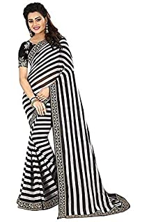 88a50f6fefc9d SareePopular Women s Black And White Striped Georgette Print Saree With  Cotton Net Embroidery Blouse Piece Free Size