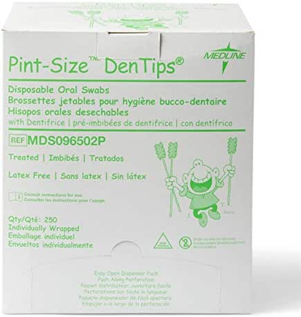 Medline Dentips Mint Treated Oral Care Swabs, 250 Count