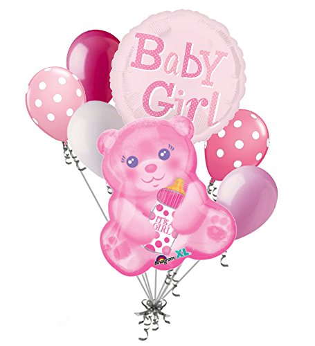 7 pc Baby Girl Pink Bear Balloon Bouquet Party Decoration Shower Welcome ()
