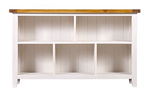 Farmhouse Furniture twofrm1080 Tuscan Bookcase Solid Wood, 52 inches, Honey/Ivory