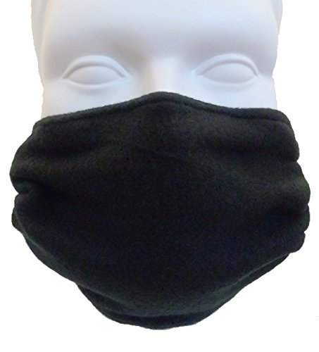 Fleece Double Layer Cold Weather Face Mask - Black - Reversible ()