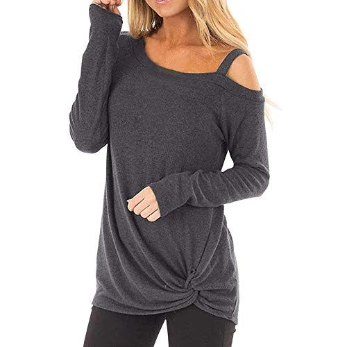 POQOQ Tops T Shirts Womens Blouses Short Sleeves Flare Tunic for Leggings Flowy Casual Curved Hem Long Sleeve V Neck Side Slim XL Dark Gray
