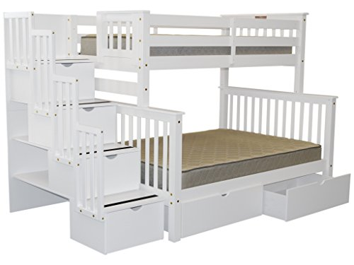 Bedz King Stairway Bunk Bed Twin over Full with 4 Drawers in the Steps and 2 Under Bed Drawers, White